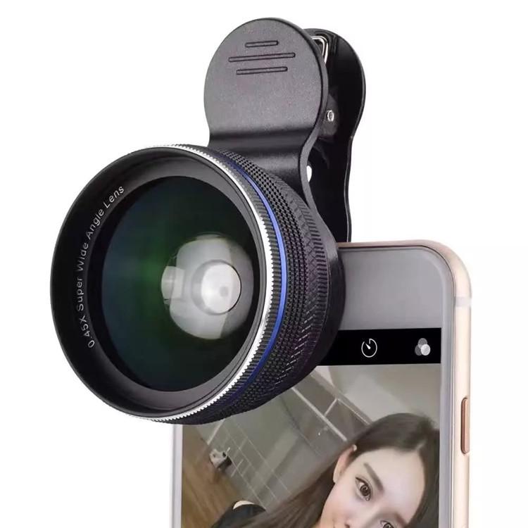 第3代手機通用廣角鏡頭不變形0.45X廣角微距二合一無畸變手機鏡頭