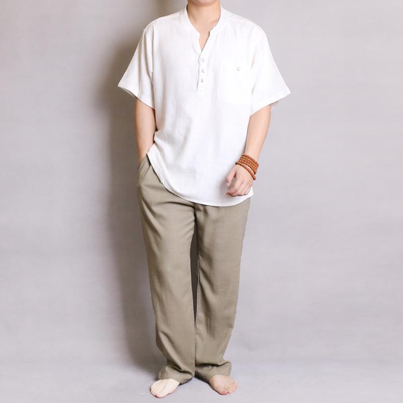 迪仕堡夏季休闲亚麻套装男 中国风宽松薄款中老年唐装男 短袖汉服