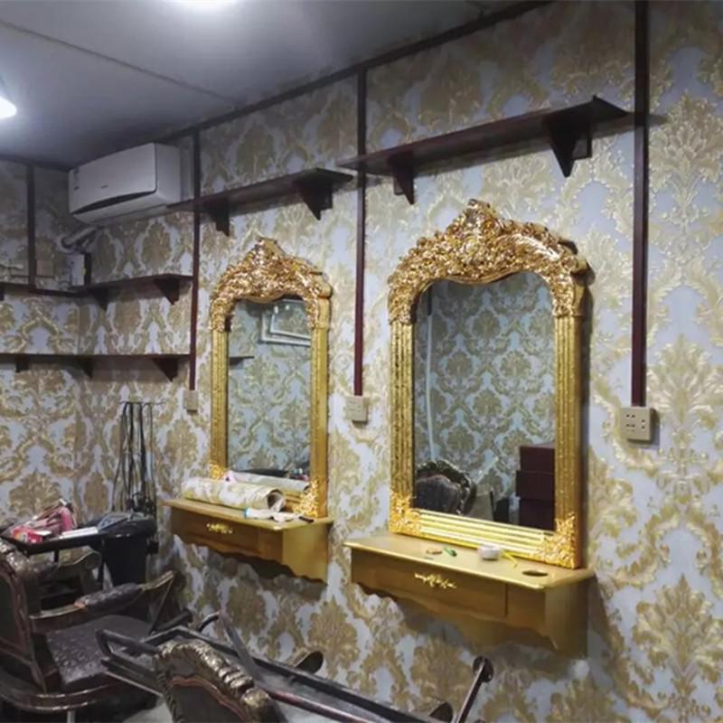 复古理发店镜子美发镜台发廊剪发镜单面实木柜子壁挂欧式化妆镜台