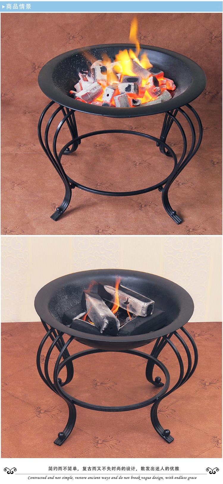 冬天取暖火盆架铁艺火炉架婚庆火盆灯取暖火盆立式火盆烧烤架