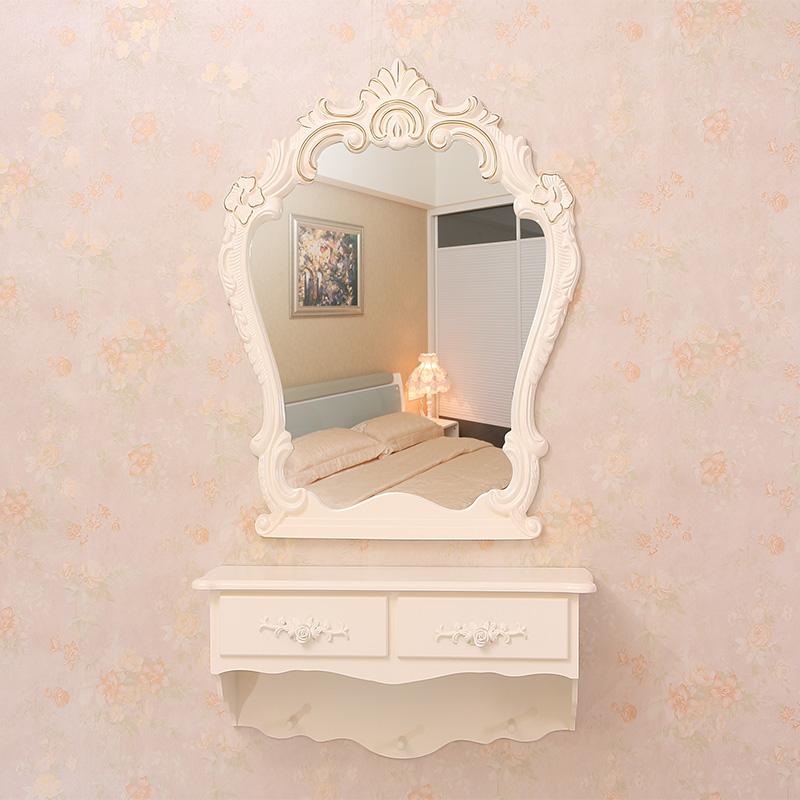 雕花梳妆镜欧式壁挂卧室梳妆台镜田园浴室镜化妆镜美容院幼儿园镜