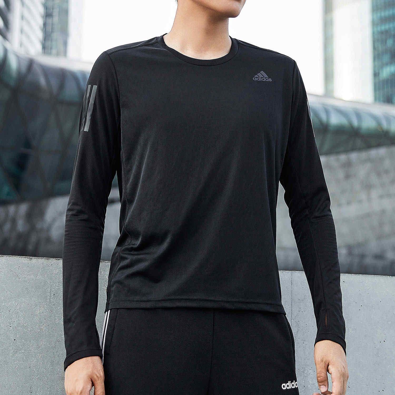 Adidas阿迪达斯男士长袖T恤秋冬休闲健身圆领紧身跑步训练运动服