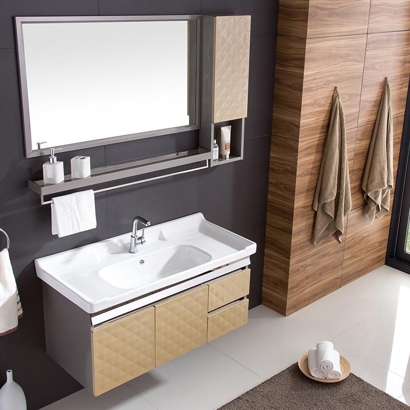 现代简约卫生间卫浴柜吊柜 不锈钢浴室柜组合洗手洗脸盆柜洗漱台