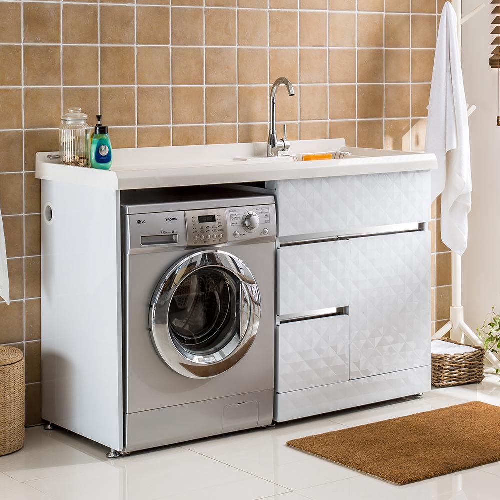 不锈钢洗衣柜金钢石带搓衣板阳台滚筒洗衣机柜浴室柜组合洗衣台