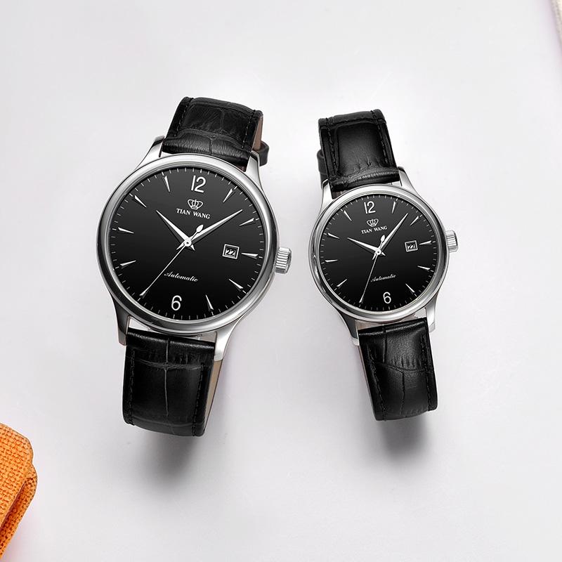 天王表简约皮带手表男士机械手表优雅女表定制刻字礼物情侣表5844