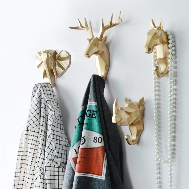北欧创意衣服挂钩免打孔鹿头壁挂玄关装饰墙壁钥匙挂架入户进门口