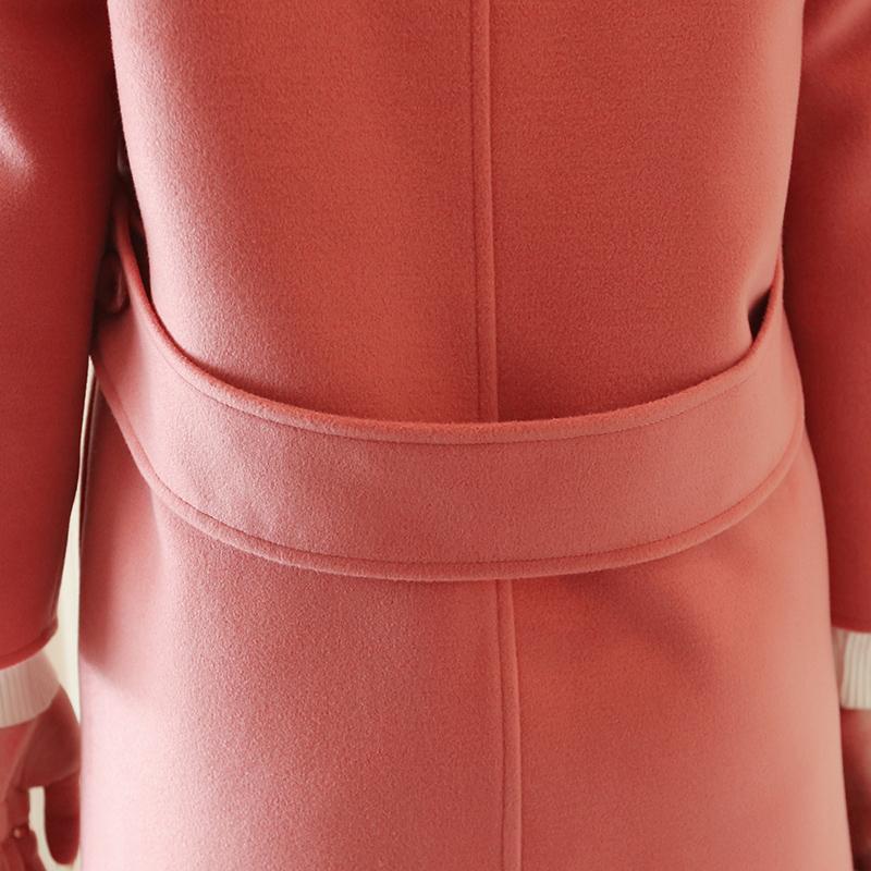 2017韩版秋冬新款翻领九分袖毛呢外套显瘦中长款呢子大衣女学生潮