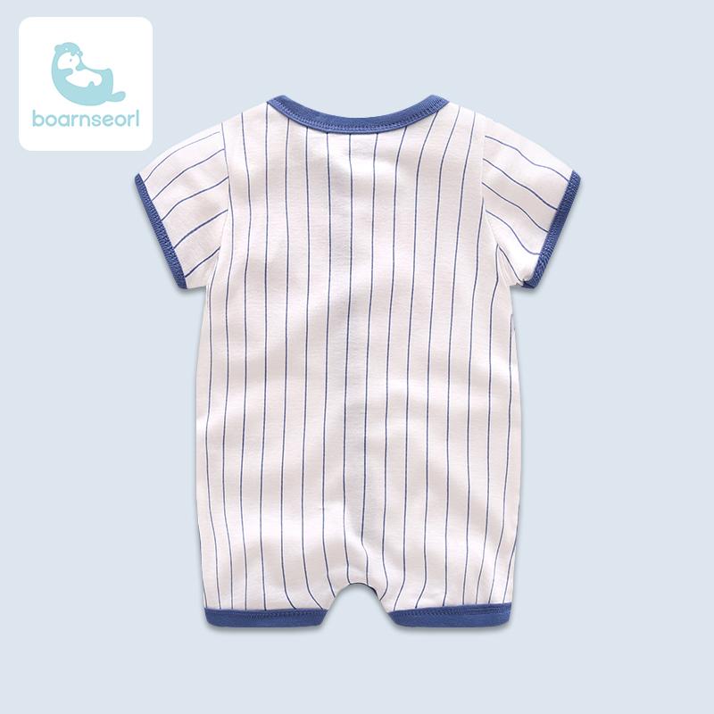夏季男宝宝纯棉轻薄棒球服0-1岁婴儿衣服短袖连体衣新生儿爬爬服