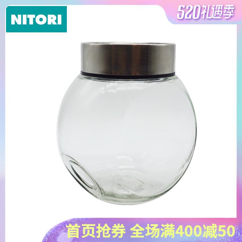 日本NITORI尼達利 可斜放玻璃食品罐 2200ml