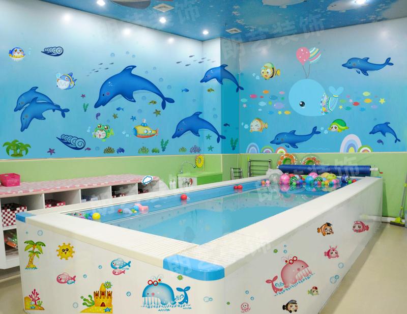 游泳馆贴画海底世界婴儿浴室装饰品卡通海洋鱼幼儿园防水贴纸自粘