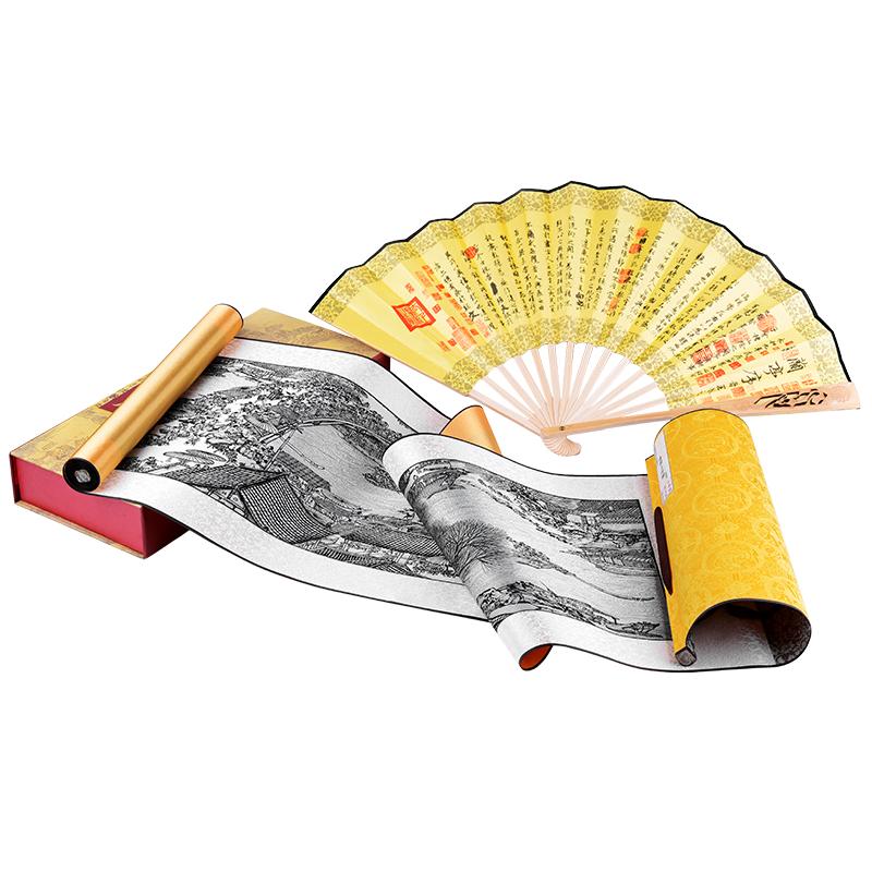 中国风四川成都特色纪念品小礼物送老外国人卷轴画折扇