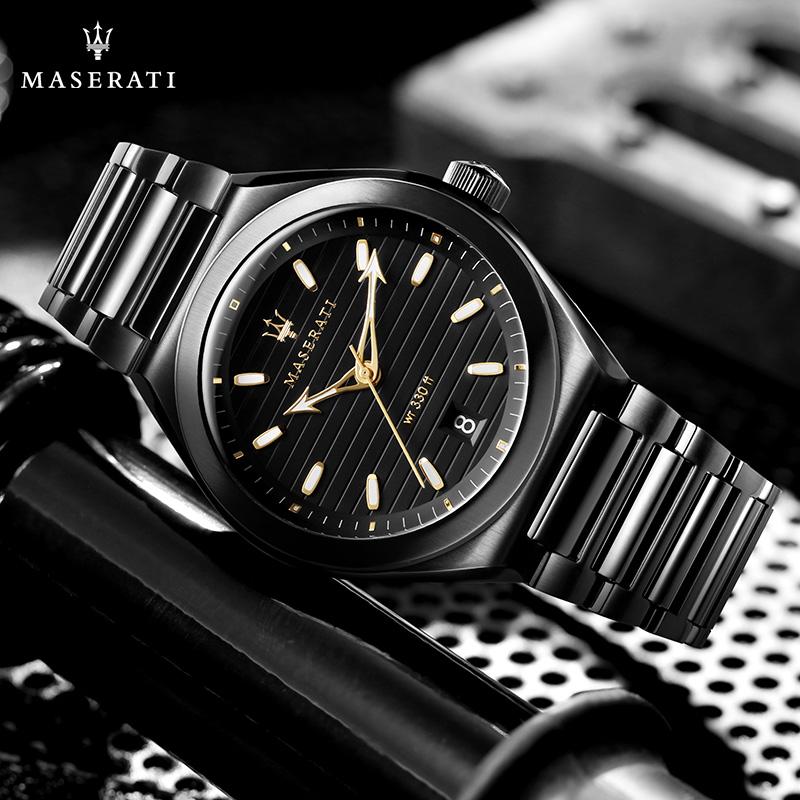 MASERATI玛莎拉蒂官方正品防水薄款钢带手表男经典简约气质石英表