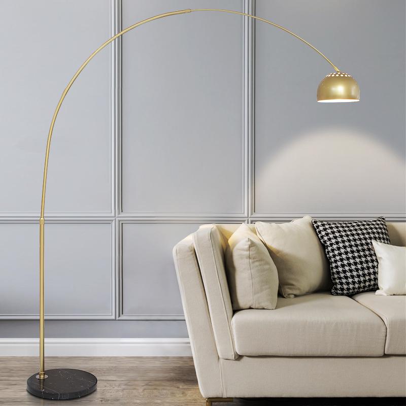 简约现代金色轻奢客厅麻将灯遥控沙发落地灯卧室书房护眼钓鱼灯