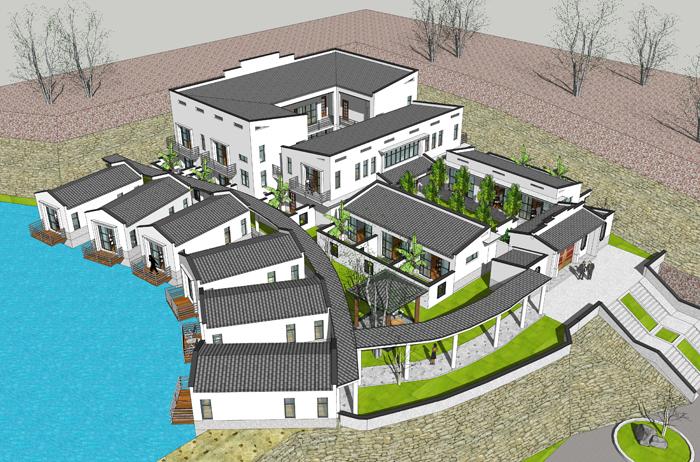 湖北因地制宜中式四合院私人会所设计 家庭旅馆私人庄园别墅设计