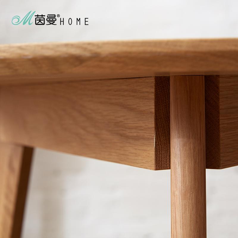 北欧现代简约桌子田园环保小圆桌实木茶几餐桌两用小餐桌客厅边几