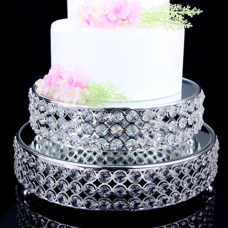 欧式水晶镀银蛋糕台 镜面玻璃点心盘水果盘 婚庆甜品摆件3130