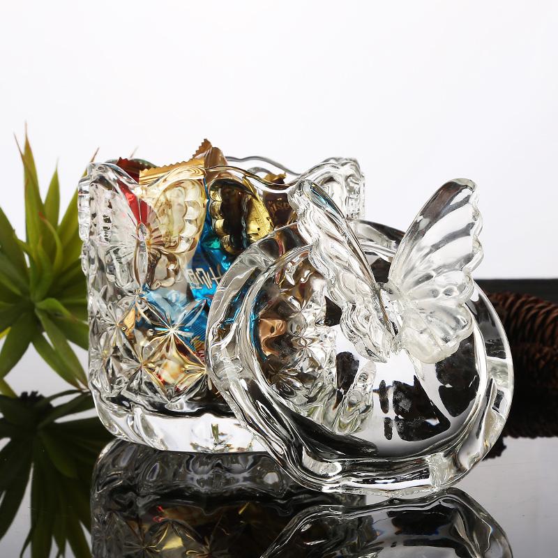 欧式透明玻璃糖果罐创意蝴蝶带盖透明储物罐咖啡罐糖罐玻璃储物罐