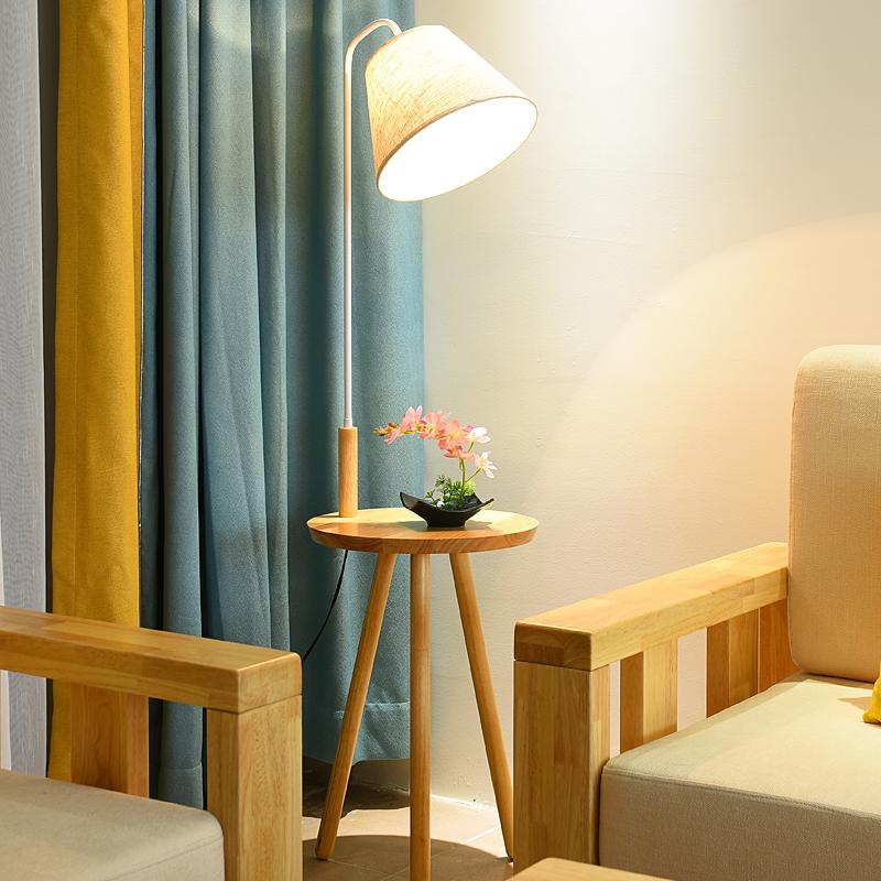 北欧实木卧室床头落地灯置物架调光天猫精灵智能语音茶几客厅台灯