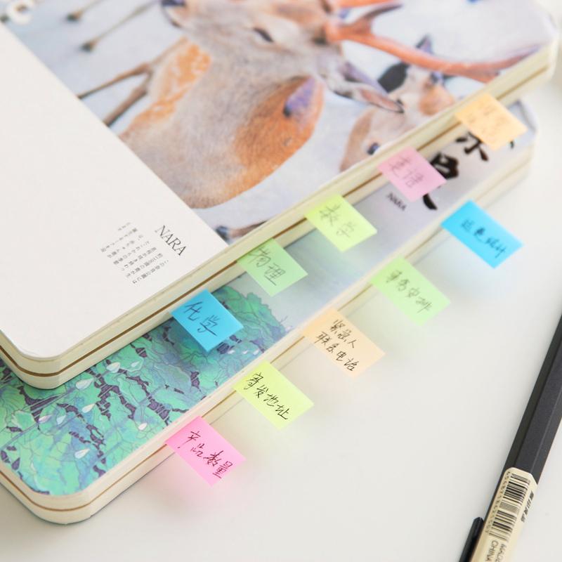 3包装 得力分类标签贴彩色记事贴便利贴 5色荧光膜指示标贴记事贴9062书签标识学生文具办公用品不干胶贴