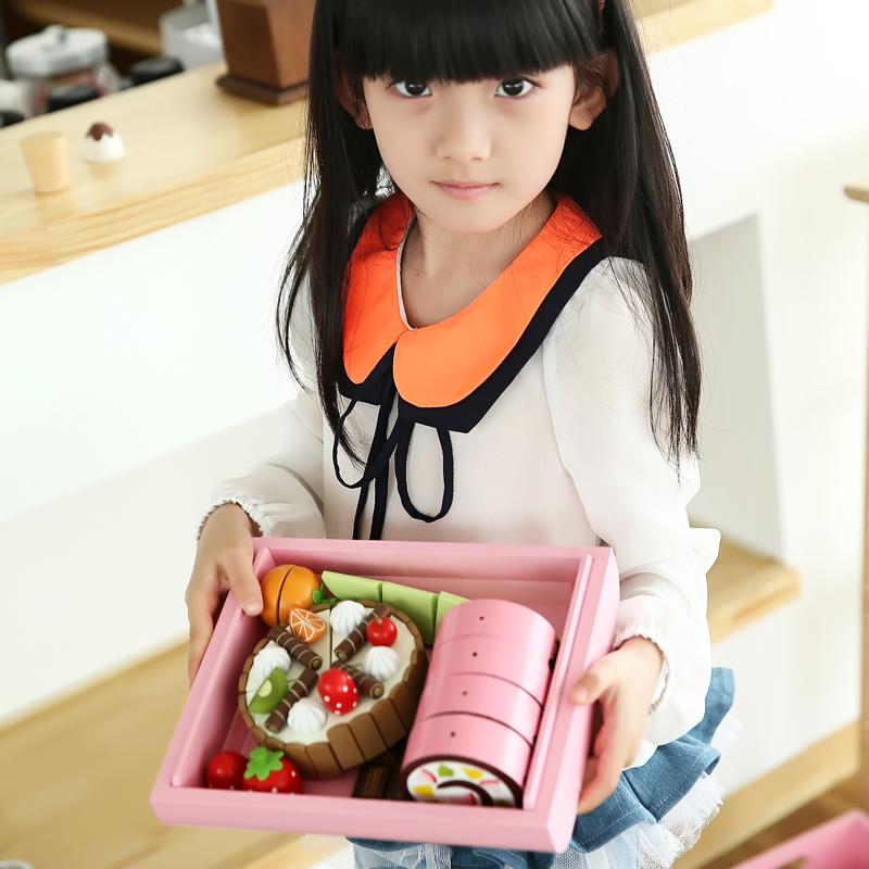草莓正品切切乐儿童玩具木制生日蛋糕过家家水果切切看厨房