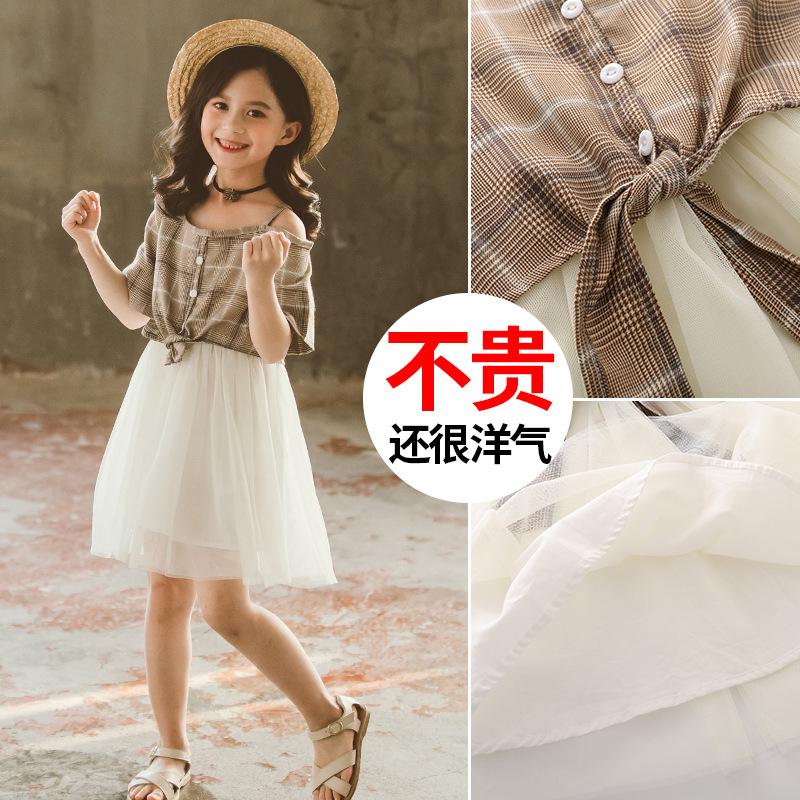 夏装格子吊带短袖网纱拼接公主超洋气裙子