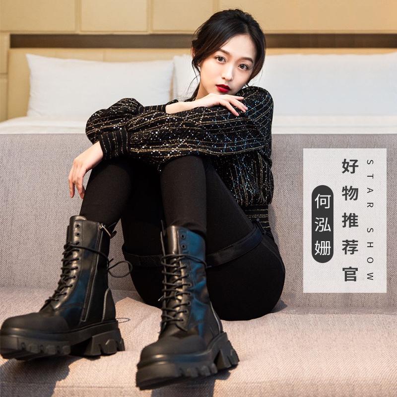 【薇娅推荐】红蜻蜓黑武士马丁靴20秋冬新款运动厚底中短筒靴 - 图1