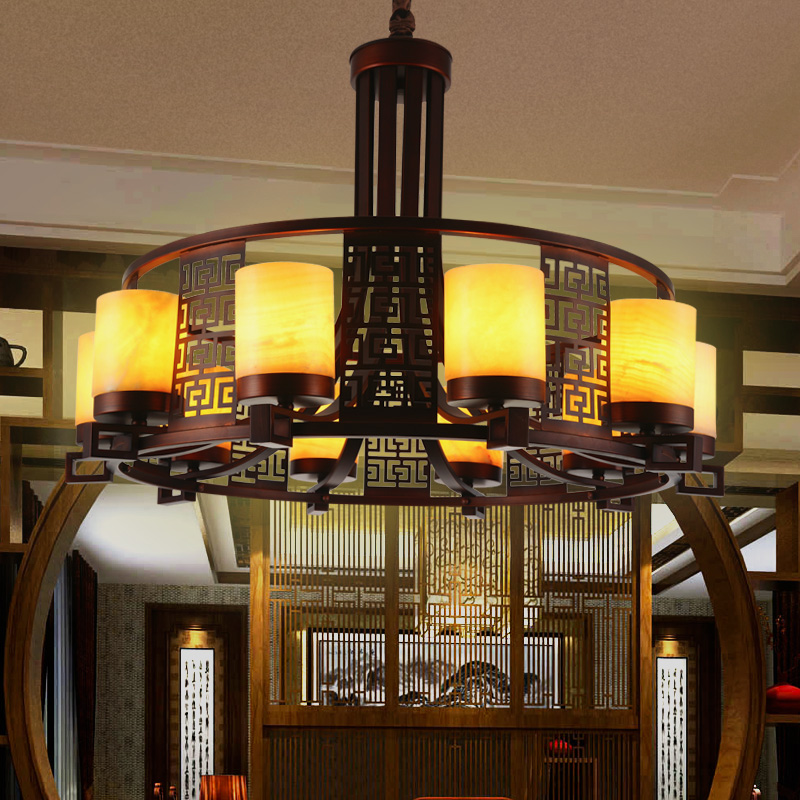 新中式铁艺复古创意客厅中餐厅卧室酒店仿古茶楼工程云石圆形吊灯