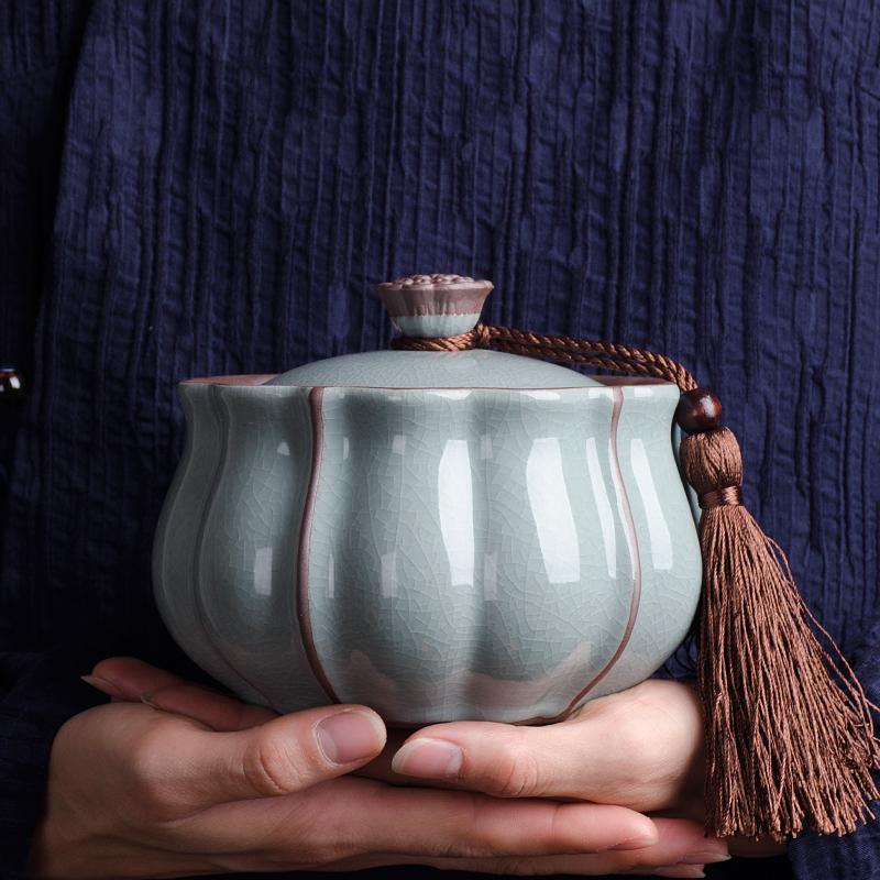 陶瓷茶叶罐密封罐家用存茶罐储存罐大小号瓷罐绿茶普洱茶盒储茶罐