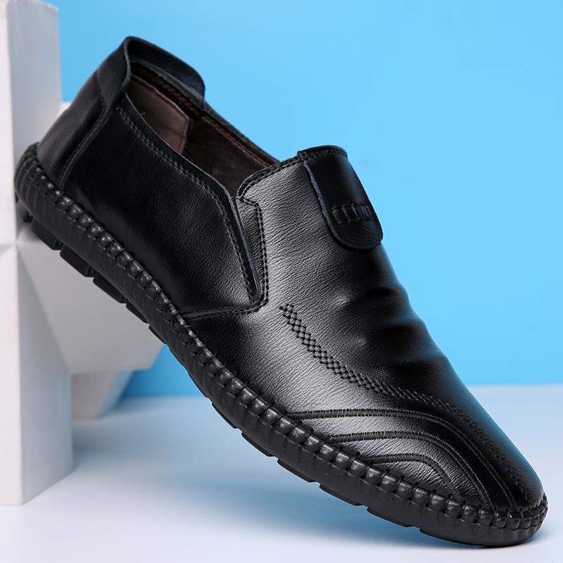 男士休闲皮鞋男真皮韩版潮流黑色软面皮英伦商务秋季男鞋冬季鞋子