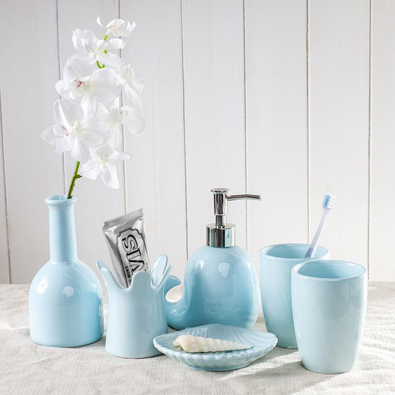 创意欧式洗漱套装陶瓷卫浴五件套漱口杯刷牙杯用品套件结婚礼物