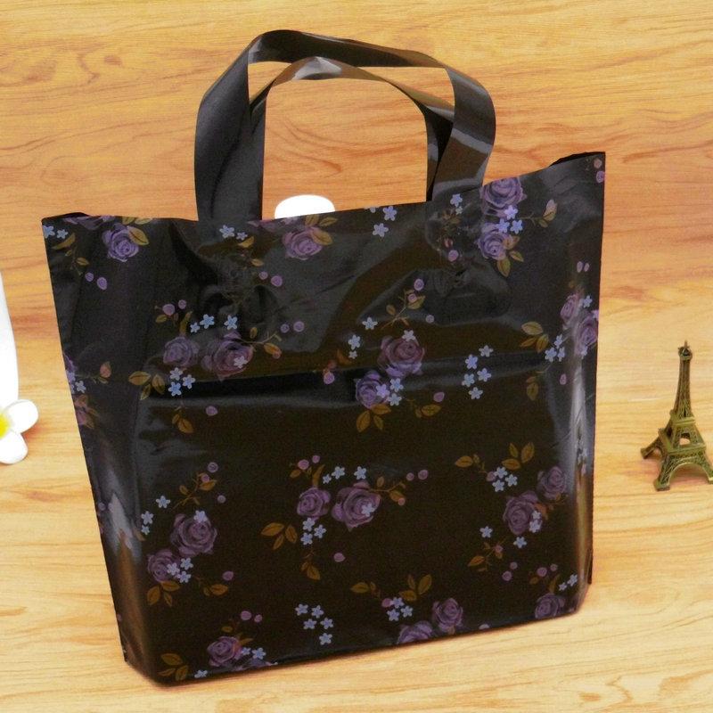 特厚碎花塑料黑色礼品包装袋手拎袋衣服店手提服装内衣胶袋子批发
