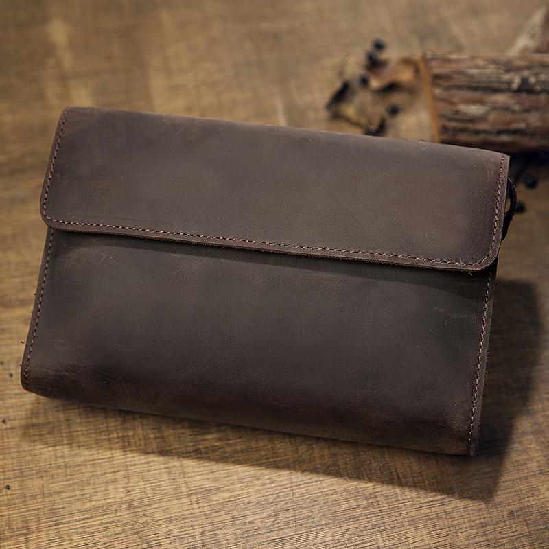 手工原創瘋馬皮男款錢包手拿包真皮復古手機包頭層牛皮手包手抓包