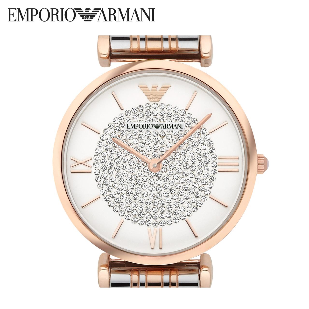 混色钢带镶钻女款石英腕表 Armani 阿玛尼女表满天星手表女 AR1926