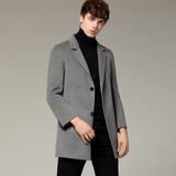 Autumn and winter men's woolen woolen coat men's double-sided cashmere coat long warm British windbreaker men's spring
