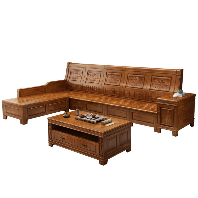 香樟木沙发实木组合全实木客厅家具转角老式雕花中式储物木沙发