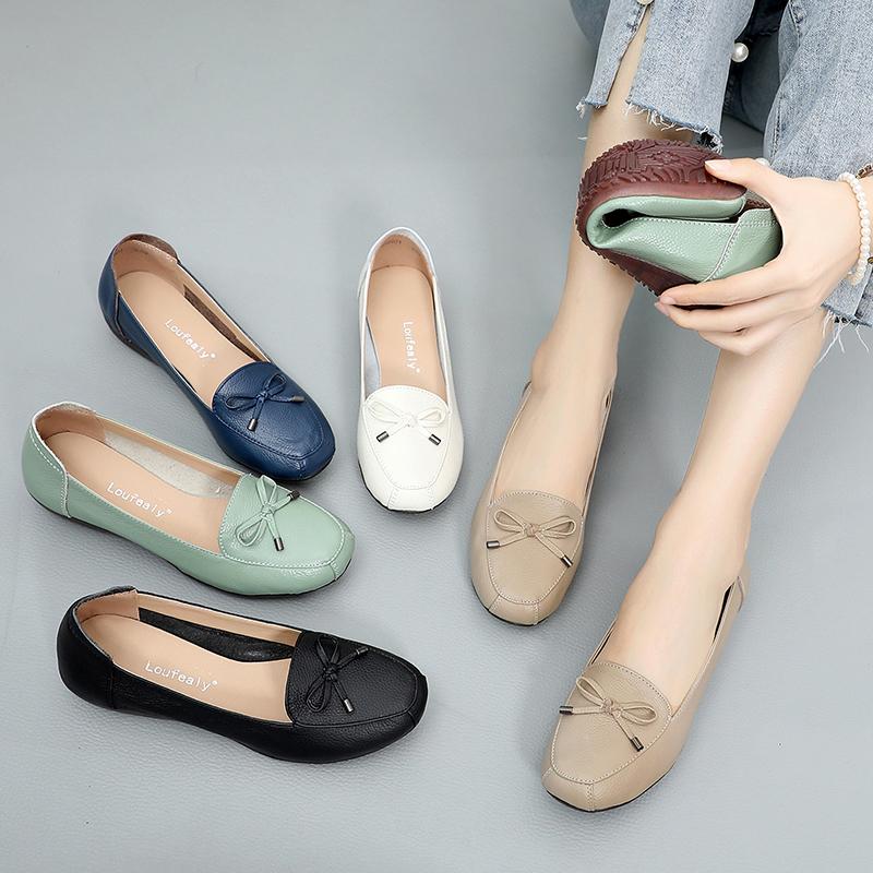 夏季豆豆鞋女真皮平底单鞋舒适妈妈鞋软底防滑中老年休闲女式皮鞋