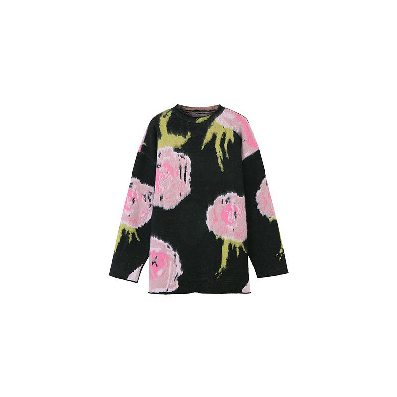 年秋冬慵懒风复古提花中长款套头针织上衣 2020 毛衣女宽松外穿 MONA