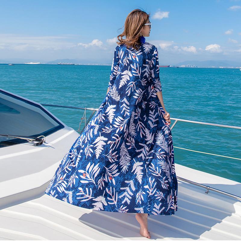 沙滩裙2019新款海边度假三亚长裙性感开叉显瘦波西米亚连衣裙女夏