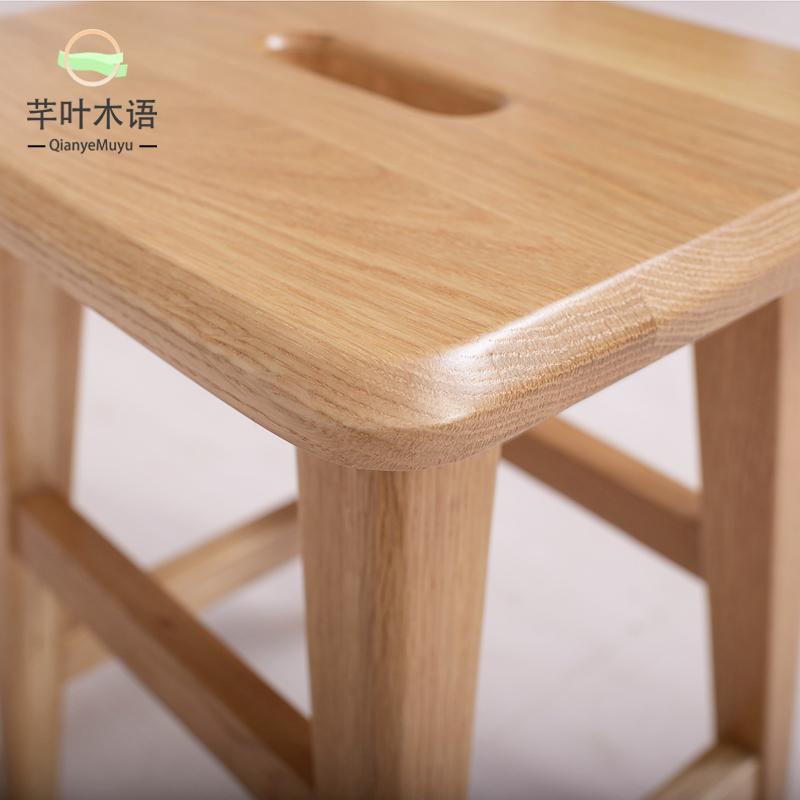芊叶木语全实木白橡木矮凳原木色换鞋凳实木小凳子板凳创意小家具