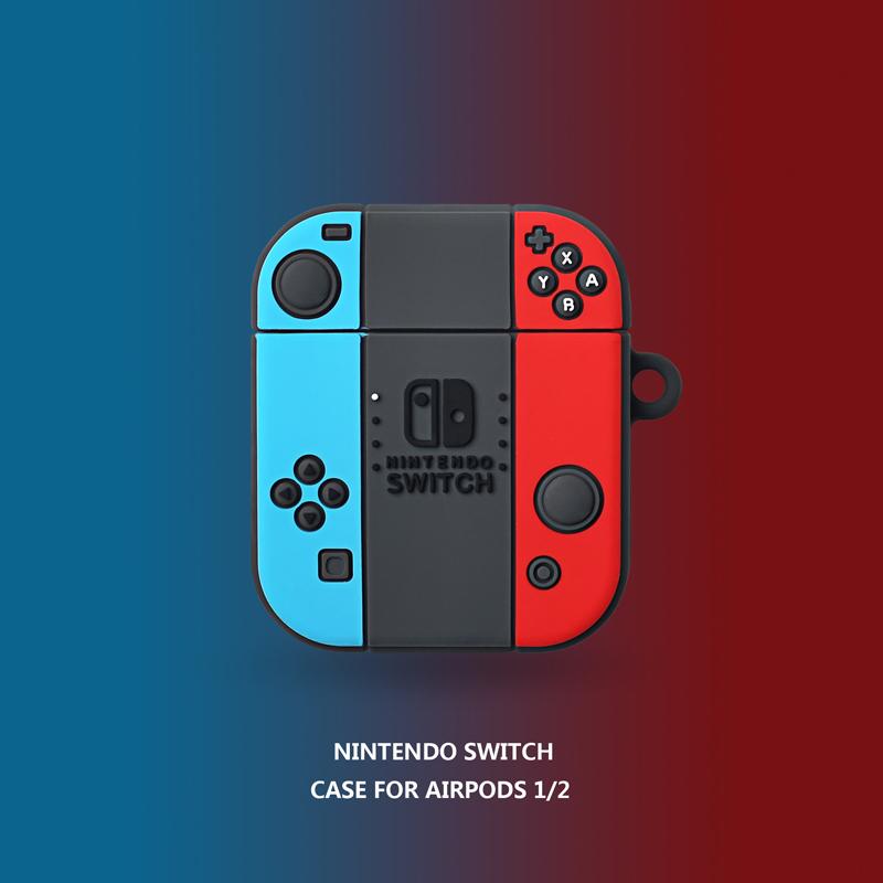 創意switch游戲機AirPods1/2代保護套蘋果無線藍牙耳機硅膠軟殼潮