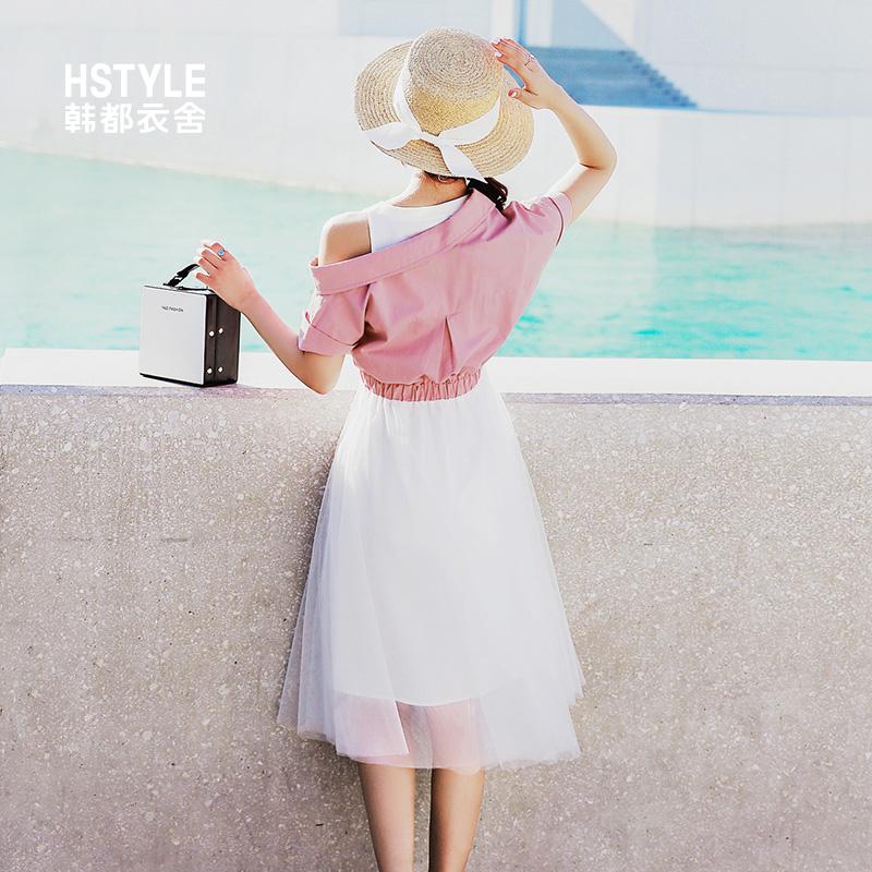 韩都衣舍2019夏装新款韩版女装假两件仙女裙网纱连衣裙LU8539荃