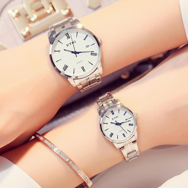 艾奇手表女防水时尚情侣表学生日历表韩版简约商务钢带男表石英表