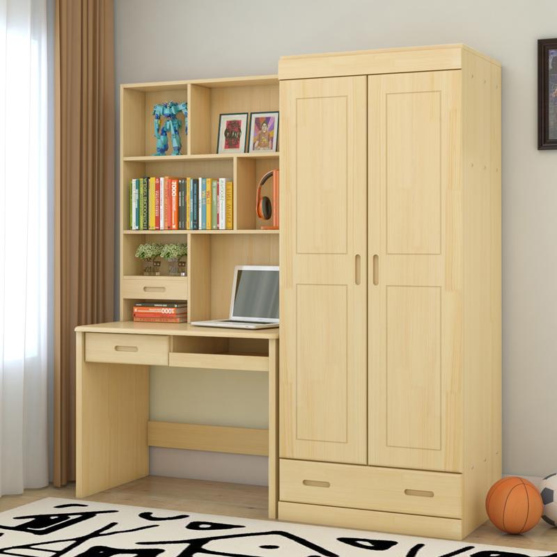 包邮松木实木电脑桌衣柜两门三门四门带顶柜组合卧室用大衣橱书桌