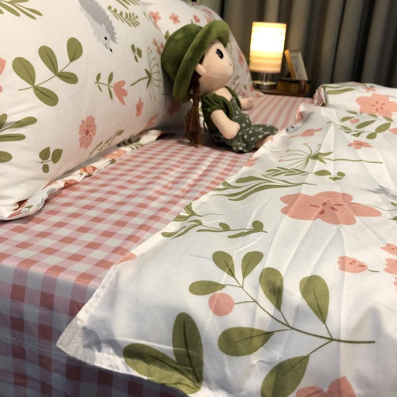 暖色系温柔粉淑女风植物花卉床单少女心宿舍床品单人床一米二被单主图