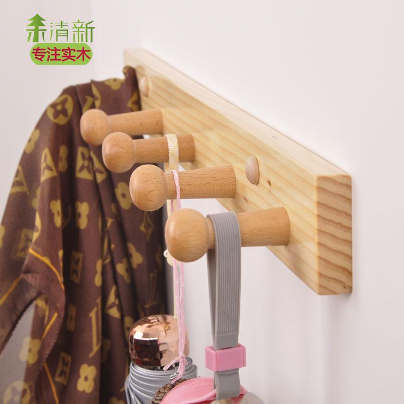 創意實木衣帽架壁掛衣鉤門後掛鉤掛包鉤裝飾掛鉤牆壁掛衣架免打孔