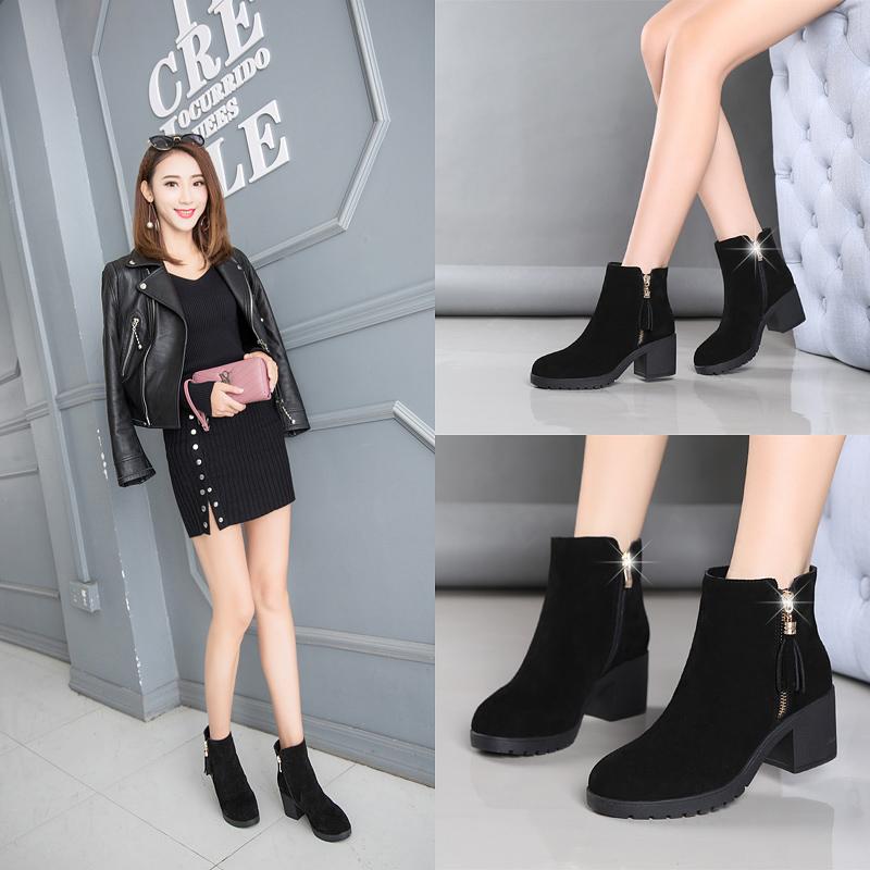 新款马丁靴防水台厚底加绒中跟女靴 2018 百丽粗跟短靴女鞋子 金特