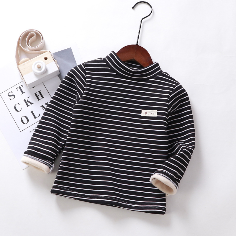 婴幼儿童保暖单件2岁半高领上衣加绒条纹打底衫宝宝夹棉t恤男女童