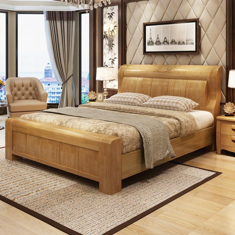 加厚实木床1.5m1.8米 高箱储物床橡胶木双人床 现代中式家具 婚床