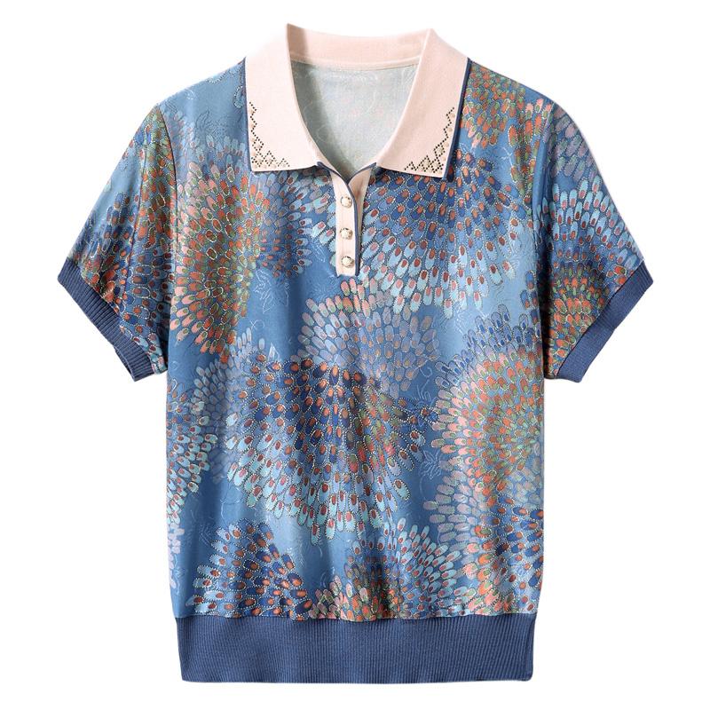 妈妈夏装短袖冰丝T恤中老年人翻领上衣洋气50岁中年女装针织小衫 No.4