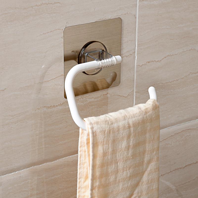 雙慶強力吸盤毛巾架壁掛毛巾杆毛巾掛捲紙架浴室單杆掛毛巾架